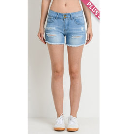 Just Your Type Destroyed Denim Shorts - Medium Wash
