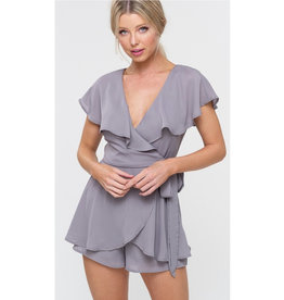 Dance To The Beat Wrap Romper - Dusty Sage