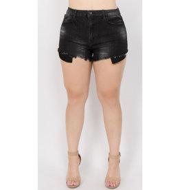 Feel So Fine Frayed Denim Shorts - Black