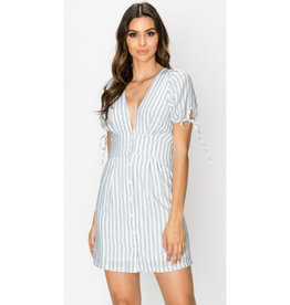 Beautiful You Striped V-Neck Dress - Blue