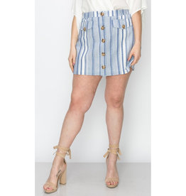 You Mean Well Button Front Cargo Mini Skirt - Royal Blue