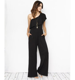 Miss Independent One Shoulder Ruffle Jumpsuit - Black