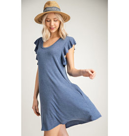 Smitten With Spring Sleeveless Ruffle Dress - Navy