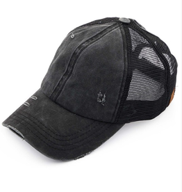 Distressed Ponytail/Messy Bun Baseball Cap- Black