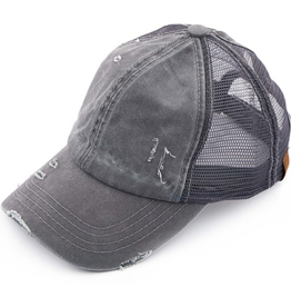 Distressed Ponytail/Messy Bun Baseball Cap - Grey