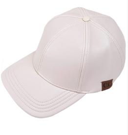 Pleather Baseball Cap - Beige