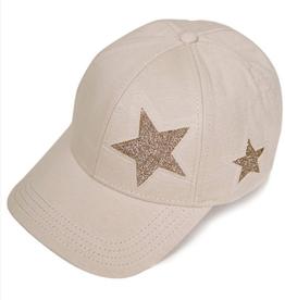 Baseball Cap With Stars - Beige