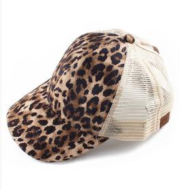 Ponytail Messy Bun Baseball Cap- Leopard