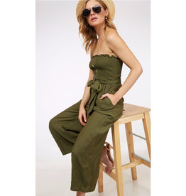 When Paths Cross Belted Smocking Jumpsuit - Olive