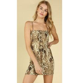 Party Time Spaghetti Strap Bodycon Dress - Snake
