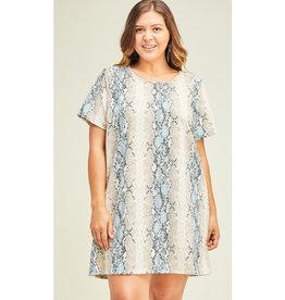 Come Along Reptile Print Scoop Neck Dress - Blue