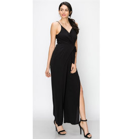 Young Love Spaghetti Strap Wrap Jumpsuit - Black