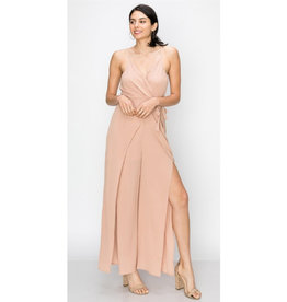 Young Love Spaghetti Strap Wrap Jumpsuit - D. Rose