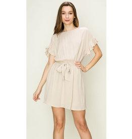 Delicate Balance Ruffle Sleeve Waist Tie Dress - Sand