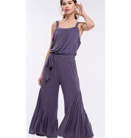 In The Mood Flounce Jumpsuit - Charcoal