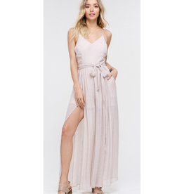 Late For The Party Textured Split Leg Jumpsuit - Champagne