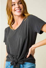 Casual Events Front Tie V-Neck Top - Black