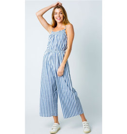Hearts In A Riot Striped Open Shoulder Jumpsuit - Light Blue