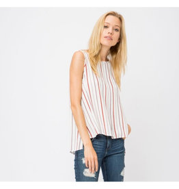 Pretty Feelings Striped Open Back Tank Top - Off White