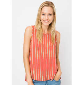 Pretty Feelings Striped Open Back Tank Top - Rust
