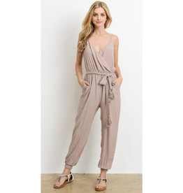 No Stopping Her Now Tie Jumpsuit - Taupe