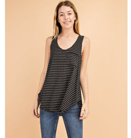 Wild Winds Striped Tank - Black/Ivory