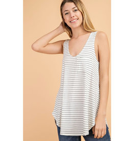 Wild Winds Striped Tank - Ivory/Black