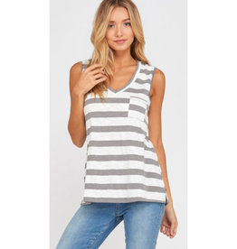 Amuse Society Striped V-Neck Tank Top - Grey