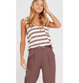 Amuse Society Striped V-Neck Tank Top - Brown