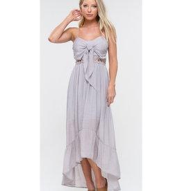 Gotcha Now Front Tie High Low Ruffle Dress - Light Grey