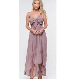 Gotcha Now Front Tie High Low Ruffle Dress - Rose Smoke
