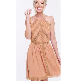 Keep Confident Halter Neck Dress - Clay