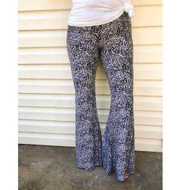 Always in Your Favor Animal Print Bell Bottom Pants - Grey Multi