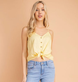 All Tied Up Front Tie Tank - Lemon