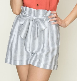 Made It This Far Striped Paper Bag Shorts - Grey