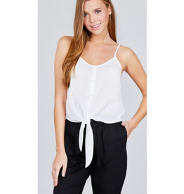 Enjoy The Breeze Button Down Front Tie Top - Off White