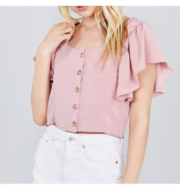 Never Felt So Alive Ruffle Sleeve Top - Blush