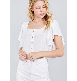 Never Felt So Alive Ruffle Sleeve Top - Off White