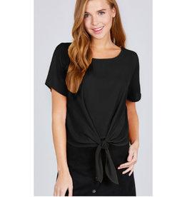 Start Your Day Front Tie Top - Black
