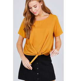 Start Your Day Front Tie Top - Mustard
