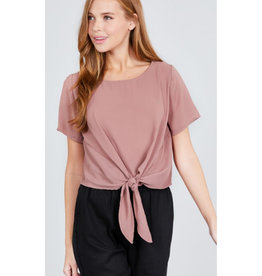Start Your Day Front Tie Top - Mauve