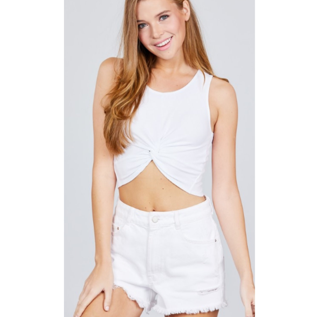 Take The Journey Front Tie Crop Top - Off White