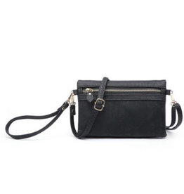 The Emily Wallet with Crossbody Strap - Black