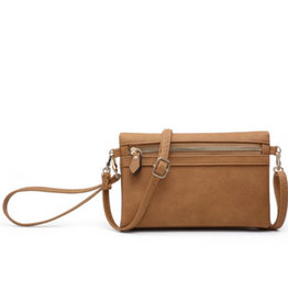The Emily Wallet with Crossbody Strap - Tan