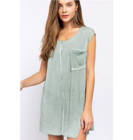 Over And Over Sleeveless Asymmetrical Slit Top - Green Lily