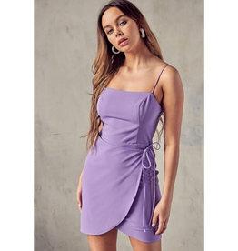 Lucky Break Open Back Wrapped Mini Dress - Purple
