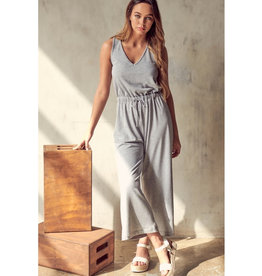 All You Could Want Crossed Back Drawstring Wide Leg Jumpsuit - Heather Grey