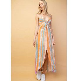 Point This Out V-Neck Multi Color Stripe Midi Dress - Purple/Orange