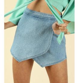 Whisk Me Away Shorts- Light Denim