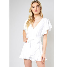 Got A Good Thing Going Wrap Romper - White